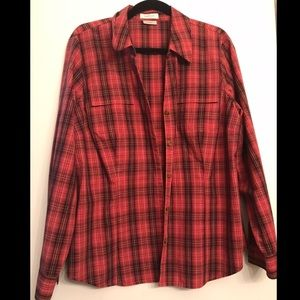 Van Heusen Red Plaid Button Down Shirt size XL